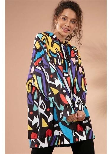 Pattaya Pattaya Kadın Grafik Desenli Kapşonlu Oversize Sweatshirt Y20W110-4125-28 Renkli